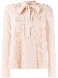 lace panel pussy-bow blouse
