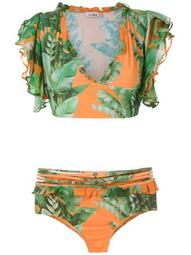 printed crop top bikini set