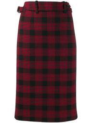 Glen plaid-pattern pencil skirt