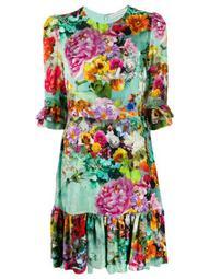 Millais floral-print velvet-devoré dress