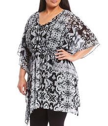 Plus Size Lace Up V-Neck Elbow Sleeve Jaggery Tunic