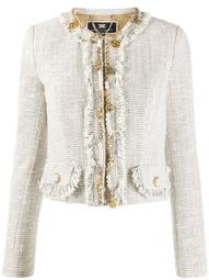 chain-trimmed fringed tweed jacket