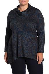 Cowl Neck Paisley Top (Plus Size)