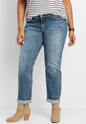 Plus Size Silver Jeans Co.® Medium Wash Rolled Hem Boyfriend Jean
