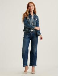 Mid Rise Crop Wide Leg Jean