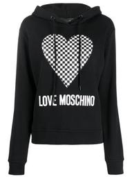 checkered heart-print hooded sweatshirt