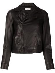 off-centre zipped biker jacket