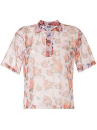 rose print sheer shirt