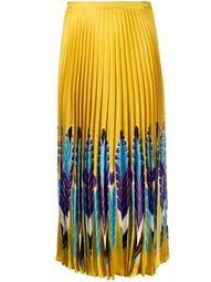 feather print pleated midi skirt