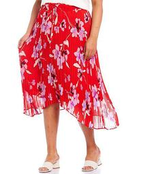 Plus Size Floral Print Pull-On High-Low Pleated Skirt