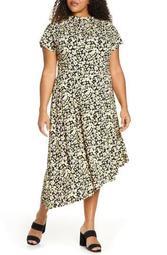 Floral Asymmetrical Hem Stretch Jersey Midi Dress