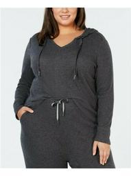 ALFANI Womens Gray Heather Long Sleeve Hooded Top  Size 1X