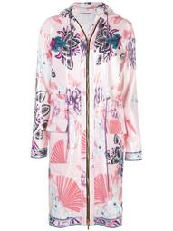 floral zipped raincoat