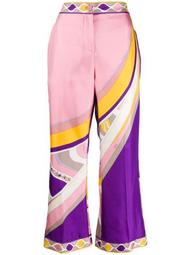 abstract print silk cropped trousers
