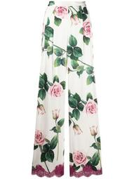 tropical rose print wide-leg trousers