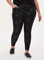 Black Floral Skull Ponte Multi Zip Skinny Ankle Pant