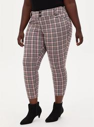 Studio Signature Stretch Light Taupe Plaid Double Knit Ankle Skinny Pant