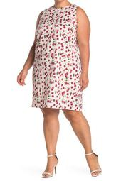Cherry Print Sleeveless Shift Dress (Plus Size)