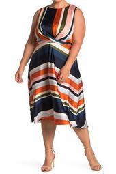 Striped Sleeveless Tie Waist Fit & Flare Dress (Plus Size)