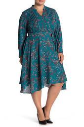 Long Sleeve Floral Pintuck Dress
