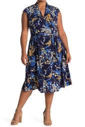 Ditsy Cap Sleeve Wrap Midi Dress (Plus Size)