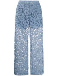 floral lace flared trousers