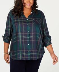 Plus Size Plaid Roll-Tab Shirt