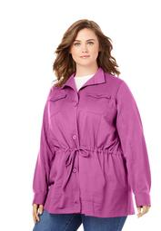 Woman Within Women's Plus Size French Terry Utility Jacket