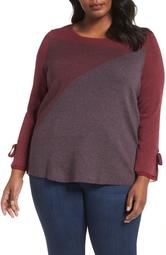 Womens Plus Colorblocked Contrast Knit Top 1X