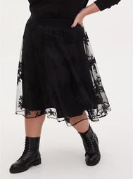 Black Mesh Embroidered Midi Skirt