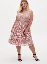 Special Occasion Taupe & Pink Floral Embroidered Mesh Dress