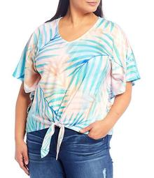 Plus Size Palm Print V-Neck Elbow Sleeve Tie-Front Knit Top