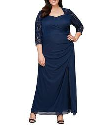 Plus Size Lace 3/4 Sleeve Sweetheart Neck Ruched Matte Jersey Gown