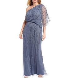 Plus Size One Shoulder Beaded Gown