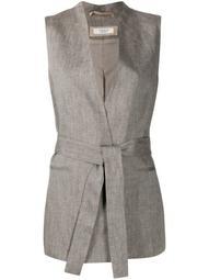 belted wrap-style waistcoat