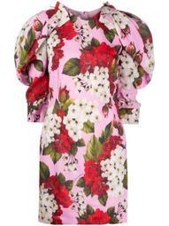 rounded shoulders floral-print dress