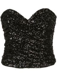 sequinned strapless top