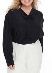 Plus Size Bishop Sleeve Tie Neck Top