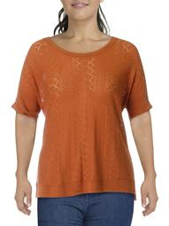 Lucky Brand Womens Plus Knit Eyelet Pullover Sweater