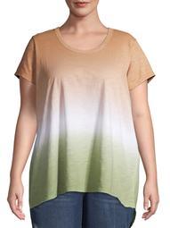 Terra & Sky Women's Plus Size Dip Dye Ombre Flowy T-Shirt