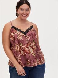 Walnut Floral & Black Lace Button Cami