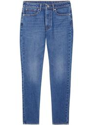 straight-leg mid-rise jeans