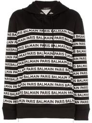 logo print tape cotton hoodie