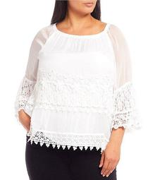 Plus Size Tiered Lace Crochet 3/4 Sleeve Peasant Top