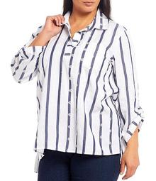 Plus Size Stripe Print Embroidery Roll-Tab Sleeve Hi-Low Shirt