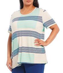 Plus Size Stripe Scoop Neck Laced Back Hi-Low Cotton Top