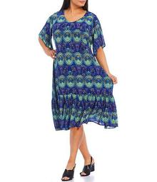 Plus Size V-Neck Flutter Sleeve Foulard Print Midi Shift Dress