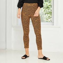 Women's Leopard Print High-Rise Cropped Pants - Who What Wear™ Brown