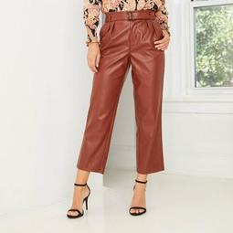 Women's High-Rise Belted Pleat Front Pants - Who What Wear ™