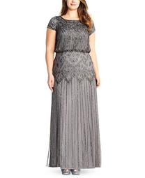 Plus Size Bead-Illusion Blouson Dress